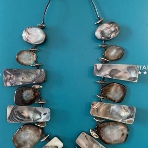Chico's Jewelry - CHICO'S FAB LARGE FAUX AGATE ABALONE NECKLACE